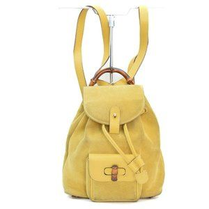 authentic Gucci BackPack Bag Yellows Suede Leather